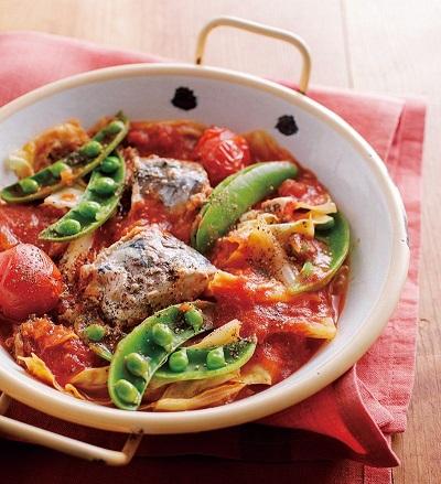 レシピの一例)さば&トマトが相性抜群! さばのトマトパッツァ