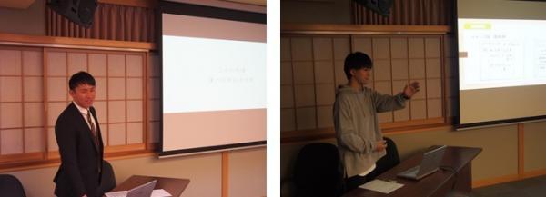 (左)担当教諭 経済学部 松田温郎准教授の講義   (右)学生発表風景