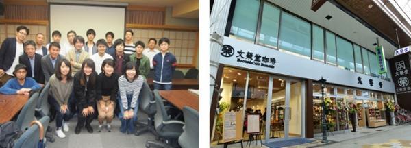 (左)学生と関係者の集合写真   (右)アイデア実現予定の文榮堂本店