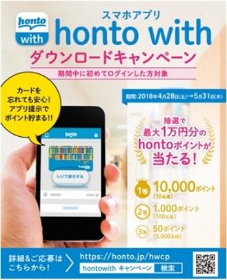 hontoのアプリ「honto with(ホントウィズ)」ダウンロードで最大1万円分のhontoポイントが抽選で当たる!