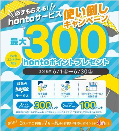 「必ずもらえる!hontoサービス使い倒しキャンペーン」hontoポイント最大300ポイントプレゼント!
