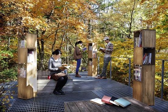 軽井沢星野エリアでブックスペース「紅葉図書館」が期間限定でオープン