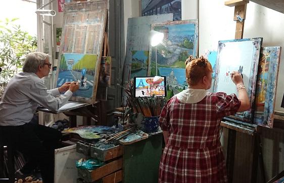 2017年9月にゲオルグ夫妻のアトリエで行われたコラボアートの制作風景