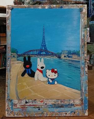 「リサとガスパール」と「ハローキティ」初のコラボ絵本がフランスで2019年1月に出版へ ▲新たに描き起こされたコラボアートの貴重な原画