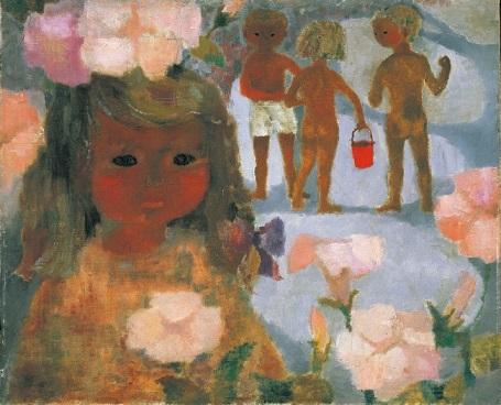 「ハマヒルガオと少女」1950年代 ちひろ美術館蔵