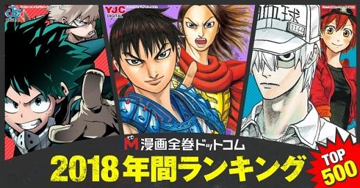 漫画全巻ドットコムが「2018年間販売セット数ランキングTOP500」を発表 第1位は『キングダム』