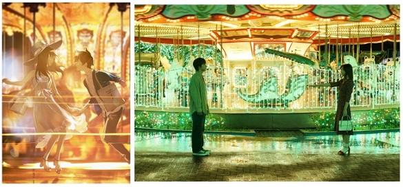 映画『君は月夜に光り輝く』オリジナルイラスト(左)と、イラストに喚起されて撮影された映画シーン(右)(c)2019「君は月夜に光り輝く」製作委員会