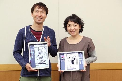 「滝沢の妻の友紀さんは、タブレットひとつで作画している」