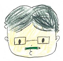 さくらこちゃんによる飯間先生の似顔絵