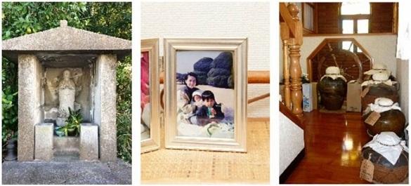 画像左から、バレンタイン地蔵、『あ』じゃなく『お』、平和の象徴