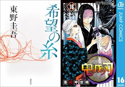 東野圭吾さん『希望の糸』が店舗総合文芸ランキングに登場
