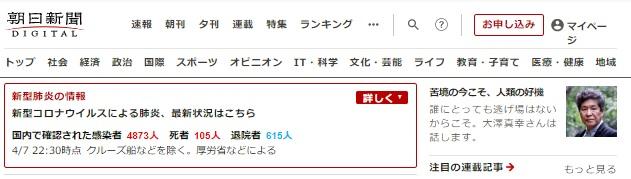 新型コロナウイルス感染対応!朝日新聞デジタルが掲載記事を無料公開