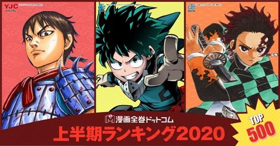 漫画全巻ドットコムが2020年上半期販売セット数ランキングTOP500を発表!
