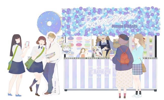 台灣漫画家左萱さんさんがオリジナル描き下ろした「インスタ映えドリンク屋台」