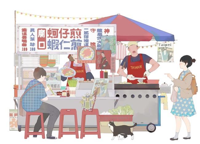 台灣漫画家左萱さんがオリジナル描き下ろした「カキ入り台湾お好み焼き屋台」