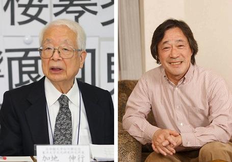 審査委員長の加地伸行さん(左)と創作漢字コンテスト広報アンバサダーの武田鉄矢さん