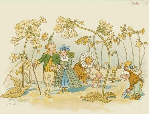 エルンスト・クライドルフ 絵本『花のメルヘン』より 小さな絵本美術館蔵