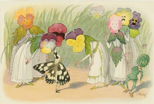 エルンスト・クライドルフ 絵本『花を棲みかに』より 小さな絵本美術館蔵