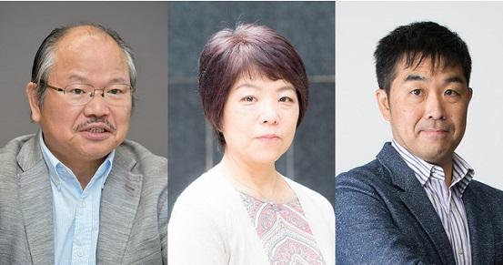 左から安部龍太郎さん、畠中恵さん、門井慶喜さん