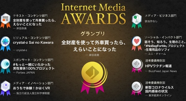 【第1回「Internet Media Awards」】岸田奈美さん「全財産を使って外車買ったら、えらいことになった」がグランプリを受賞