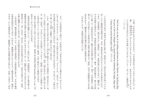 言霊思想に関する章では、ハリー・ポッターのシリーズに登場する「例のあの人」の表記について、53言語!が総覧され、対照されている。