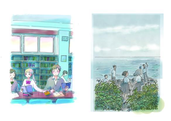 左:今日マチ子さん「Maybe!×青春」4、右:今日マチ子さん「Maybe!×青春」9