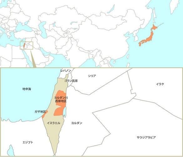 イスラエル国内のオレンジ色部分がパレスチナ。